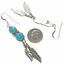 Turquoise Navajo Silver Feather Earrings