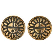 Hopi Sunface Gold Post Earrings 29540