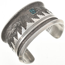 Vintage Turquoise Silver Cuff 29163