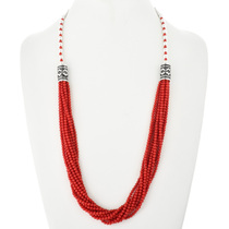 Native American Coral Silver Necklace 18763