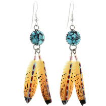 Turquoise Feather Post Dangle Earrings 25389