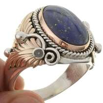 Denim Lapis Silver Gold Mens Ring 24110