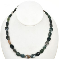 10mm by 13mm Moss Agate Beads 16 inch Strand