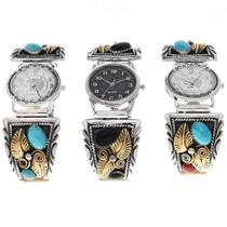14K Gold Silver Gemstone Mens Watch 22573