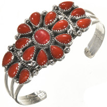 Navajo Coral Ladies Silver Bracelet 28857