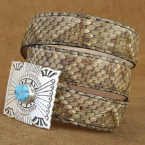 "Genuine Rattlesnake Skin Leather Belt 1.25"" width"