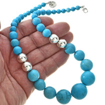 Navajo Turquoise Silver Bead Necklace 29745