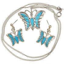 Turquoise Butterfly Pendant Set 1059