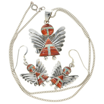 Orange Shell Angel Pendant Matching Earrings 29525