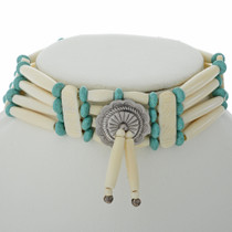 Handcarved Bone Choker Sky Blue Turquoise Beads