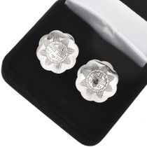 Hammered Silver Concho Cuff Links 20862