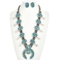 Turquoise Squash Blossom Necklace Set 28691