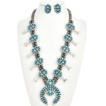 Turquoise Squash Blossom Necklace Set 28691