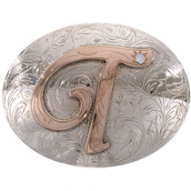 Gold Silver Initial Trophy Belt Buckle 28278