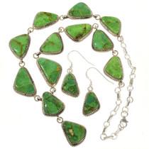 Navajo Turquoise Silver Y Necklace 29664