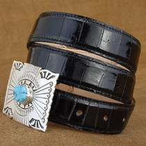 "Genuine Alligator Skin Belt Black Leather 1.25"" width - Tapered"