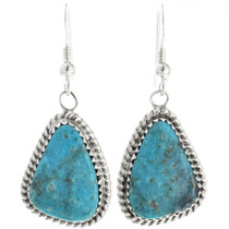 Navajo Turquoise Silver Dangle Earrings 28581