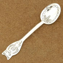 Traditional Owl Design Sterling Silver Baby Spoon Signed