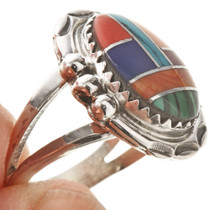 Inlaid Multi-stone Silver Ring