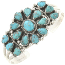 Turquoise Silver Navajo Cluster Cuff Ladies Old Pawn Style Bracelet 0219