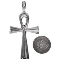 Sterling Silver Ankh Cross Pendant Charm Bracelet Charm Necklace XLG