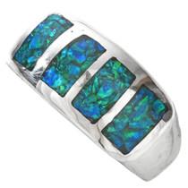 Inlaid Opal Silver Navajo Mens Ring