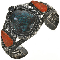 Turquoise Silver Coral Navajo Bracelet 28647