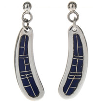 Blue Lapis Inlaid Silver Earrings 29374