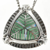 Inlaid Green Variscite Slider Pendant with Chain 29553