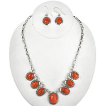 Apple Coral Silver Link Necklace Set 29689