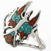 Turquoise Coral Inlaid Silver Ring