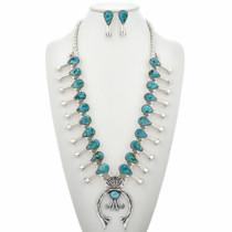 Turquoise Squash Blossom Necklace Set 29416