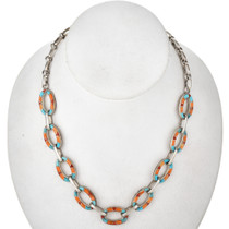 Inlaid Turquoise Coral Silver Link Necklace 29690