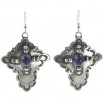Lapis Silver Cross Earrings