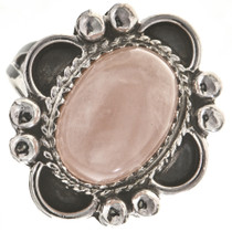 Pink Quartz Silver Ladies Ring