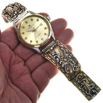 Gold Silver Navajo Mens Watch 0260