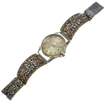 Vintage Gold Silver Navajo Mens Watch 0260