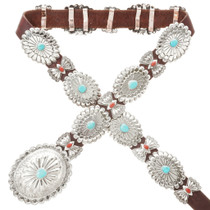 Navajo Turquoise Coral Concho Belt 13841
