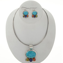 Turquoise Lapis Silver Necklace Set 27790