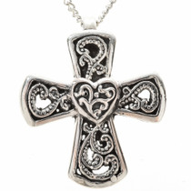 Sterling Heart Cross Pendant 28835