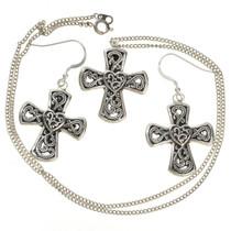 Silver Cross Pendant Earring Set 28835