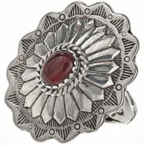 Garnet Silver Concho Ring