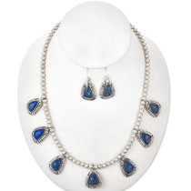 Denim Lapis Silver Necklace Set 29565