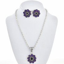 Navajo Amethyst Pendant Necklace Set 28868