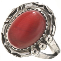 Red Coral Sterling Ladies Ring