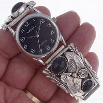 Onyx  Silver Watch Bracelet 23010