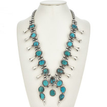 Bisbee Turquoise Squash Blossom Necklace 0087