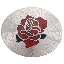 Rose Belt Buckle Engraved Silver 24270