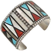 intage Zuni Inlaid Sterling Cuff Bracelet 0319