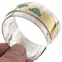 Gold Turquoise Silver Cuff  23356
